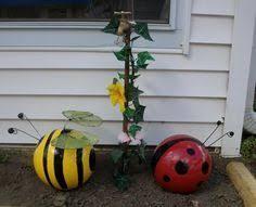 Bee Garden Decor Bumble Bee Bowling Ball Garden Ornament By Craftmeupsomefun My
