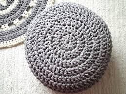 Crochet Ottoman Light Grey Ottoman Grey Crochet Pouf Ottoman Nursery Foot Stool
