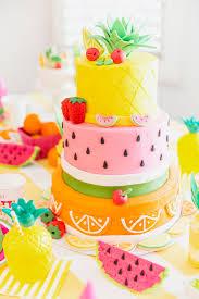 fruity birthday cake pineapple watermelon orange birthday party