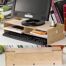 Electronic Desk Organizer New Desk Storage Wood Diy Increase Computer Display Keyboard
