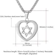 stainless steel heart necklace images Collare magen david star pendant love gift gold color stainless jpg