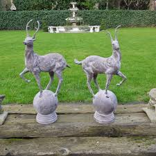 garden animal doe sculptures owls statues garden candle and blue