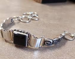 black onyx silver bracelet images Black onyx bracelet etsy jpg
