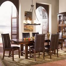 distressed rustic trestle dining table set