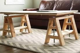 Standard Coffee Table Height Ana White Modern Indsutrial Adjustable Sawhorse Desk To Coffee