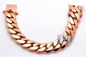 rose link bracelet images 14k rose gold miami cuban link mens bracelet 19 mm 9 inches jpg