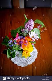 decorative pretty garden flowers picked and displayed in vase on