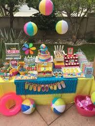 Luau Party Table Decorations Pool Party Birthday Party Ideas Pool Party Birthday Pool
