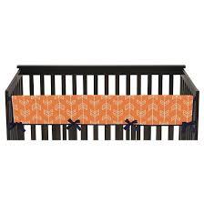 sweet jojo designs orange u0026 navy arrow long crib rail guard cover