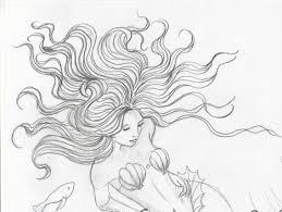 original drawing mermaid ocean floor mermaids etsy