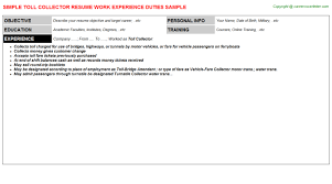 toll collector resume sample