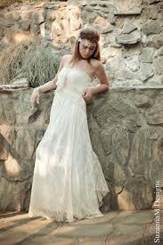ivory lace bohemian wedding dress long strappless bridal