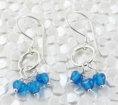 dangly earrings blue heart trio sterling silver wire wrapped dangly