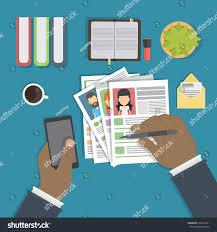 Desktop Resume Supervising Accepting Resume Director Considering Cv Stock Vector