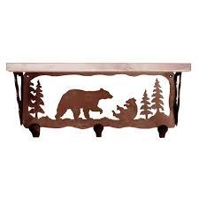 furniture brown wooden coat rack with shelf having carved bear