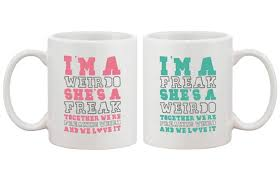 cute coffee mugs for best friends together we u0027re freaking weird bf