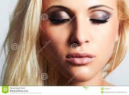 professional make up beautiful blond girl beauty woman professional make up stock
