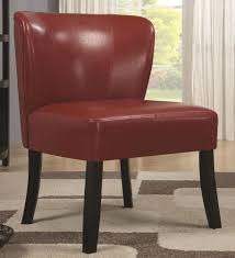 red velvel armless leather accent chair with oak wooden leg for