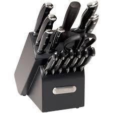 farberware kitchen knives farberware 15 piece forged triple riveted knife set black