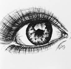 drawn artwork single eye pencil and in color drawn artwork