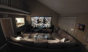 spacious home theater ideas come with modern living room and glass