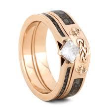 bridal gold ring custom moissanite bridal ring set gold rings with crushed antler