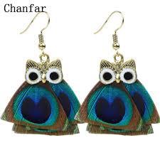 thailand earrings chanfar ethnic blue peacock feather earrings women