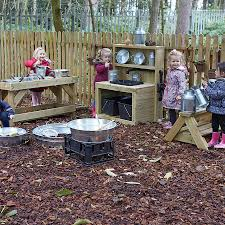 ideal messy play workstations for forest mud kitchen