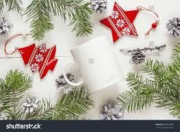 Christmas Decorations With White Branches by White Coffee Mug Christmas Decorations Fir Stock Photo 509674669