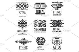 mexican aztec symbols vintage tribal vector ornaments graphics