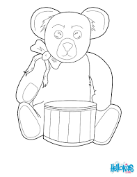 teddy bear drummer coloring pages hellokids com