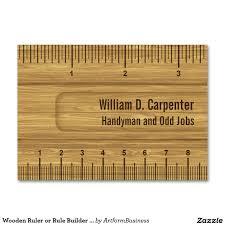 wooden ruler or rule builder or carpenter large business cards