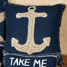 18 square nautical inspired embroidered accent pillows