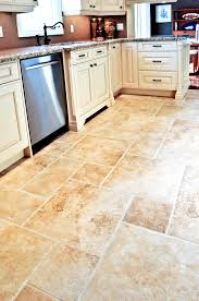 Marble Kitchen Floor by Square And Rectangle Cream Tile Kitchen Floor With White Wooden