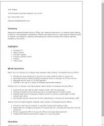 Sample Resume Of Security Guard by Download Resume For Hospital Job Haadyaooverbayresort Com
