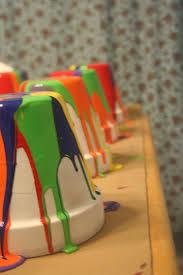 diy rainbow flower pots