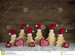 classical christmas decoration with wood santa hats on handmade