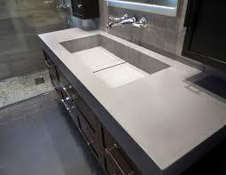 Bathroom Vanity Plus Rectangle White Concrete Sink On Top Brown Wooden Vanity Plus