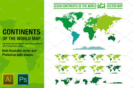 World Continents And Oceans Map by Continents Vector World Map Objects Creative Market