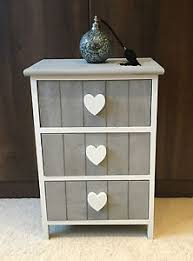 grey white chest of drawers storage unit shabby chic heart bedside