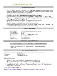 Sap Fico Sample Resume 3 Years Experience Sap Trainee Cover Letter