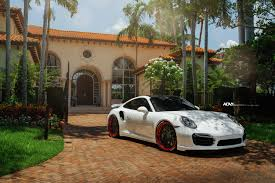 porsche matte red white porsche 911 turbo s adv7 track spec cs series wheels