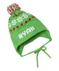 personalized knit snowflake ear flap hat featured at babybox