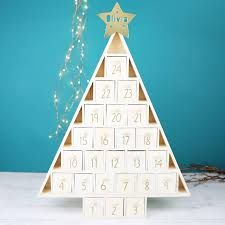personalised wooden christmas tree advent calendar wooden