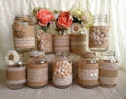 jar vases 10x rustic burlap and lace covered jar vases wedding