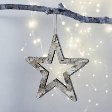 hanging bark star and treetopper christmas tree decorations