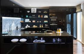 Glossy Kitchen Cabinets Apartments Beautiful Dark Square Kitchen Island Design With