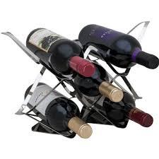 5 bottle sleek stainless steel ocean waves modern countertop wine