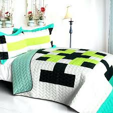 Teen Queen Bedding Lime Green Blue Patchwork Teen Boy Bedding Full Queen Quilt Set