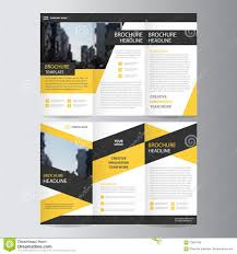 yellow black trifold leaflet brochure flyer template design book